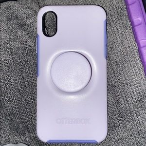 iPhone X Lavender otter box built in pop socket